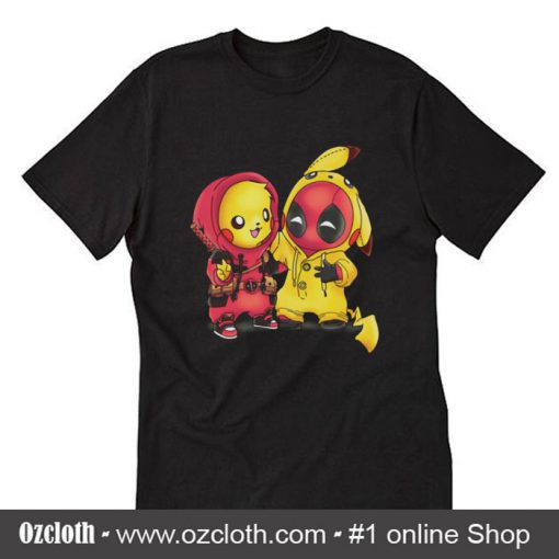 Baby Pikachu Pokemon and Deadpool T-Shirt