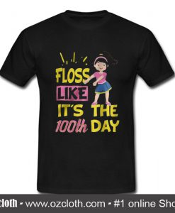 100 Days Of School Girl Floss Dance T Shirt (Oztmu)