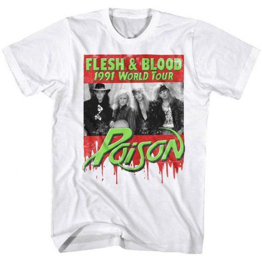 Poison Flesh & Blood World Tour 1991 Men's T Shirt (Oztmu)